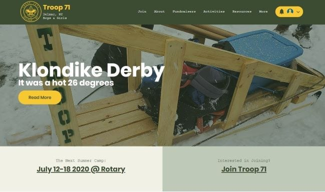 Delmar Troop 71 - Ortana Tech Web Design Client