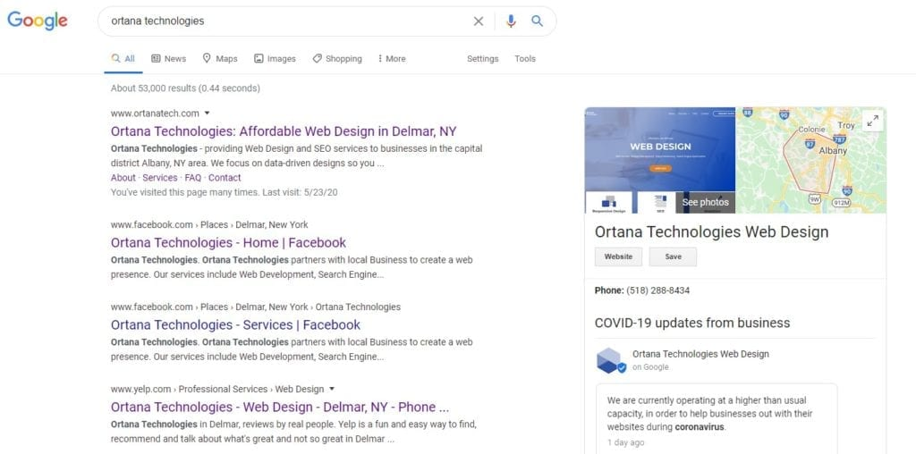 Google Search Results for Ortana Tech
