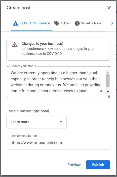 Google My Business Covid-19 Alert